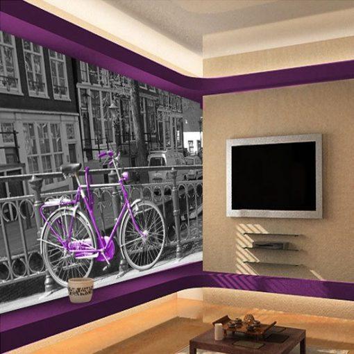 fototapeta fioletowy rower