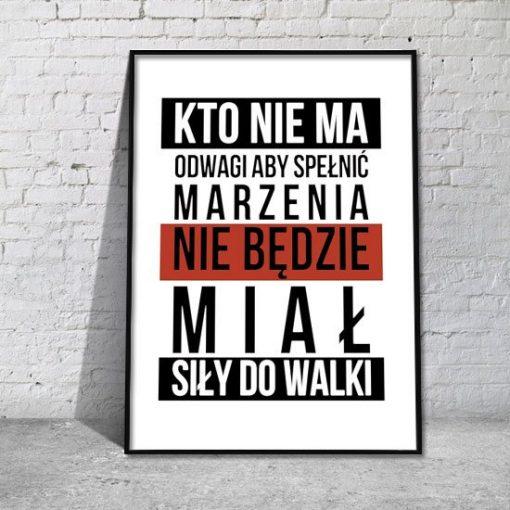 Plakat Odwaga hasło