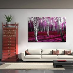 obraz rózowy las brzozowy