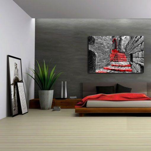 obraz czerwone schody
