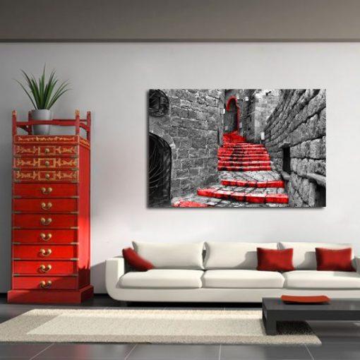 czerwone schody obraz