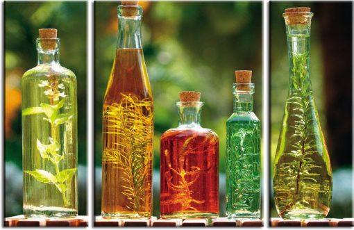 tryptyk zioła w butelkach