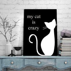 szalony kot z napisem