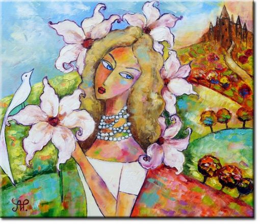 obraz piękna kobieta i ptak