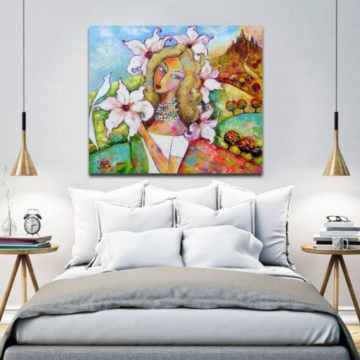 obraz z reprodukcją magnolie