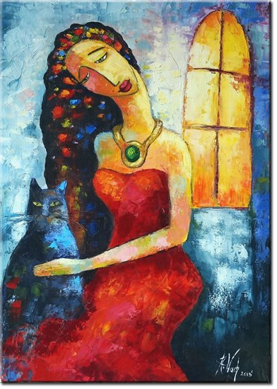 obraz zamyślona kobieta
