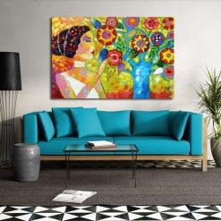 obraz piękna kobieta i kwiaty