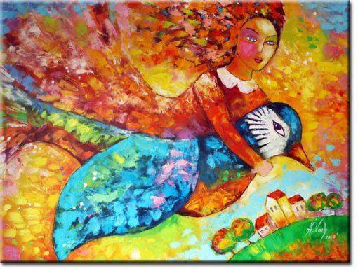 obraz dziewczyna z jaskółką