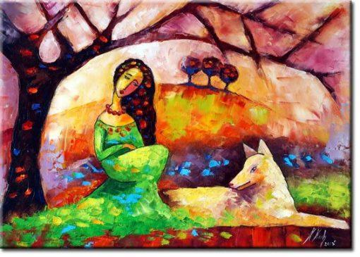 obraz biały pies i dziewczyna