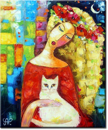 obraz z nocą i kotem