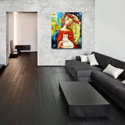 obraz dziewczyna z wiankiem z maków