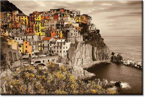 obrazy z miasteczkiem na skale