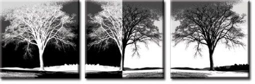 tryptyk z szarymi drzewami