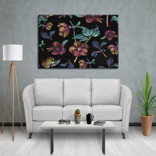 nowoczesna ozdoba ścian z kwiatami