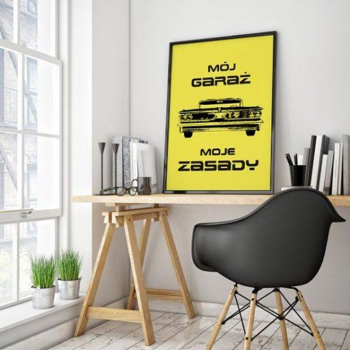 plakat z samochodem