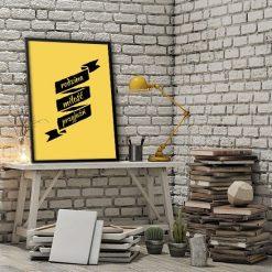 plakat z modnymi hasłami
