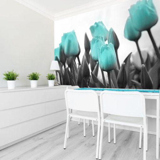 ozdoba ścian z kwiatami