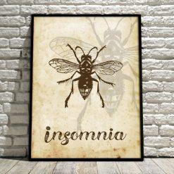 """plakat z napisem """"Insomnia"""" w ramie"""