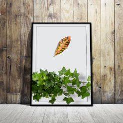 Plakat z zielonym bluszczem i liściem