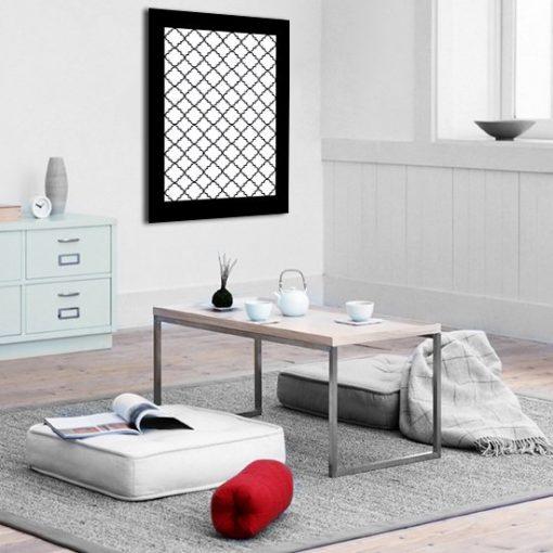 Plakat czarno-białe heksagony