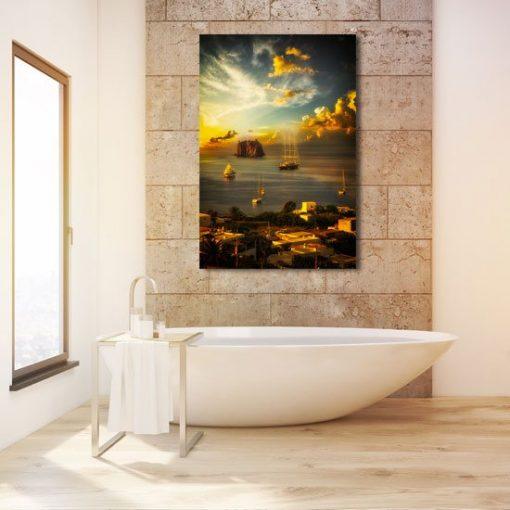 wybrzeże Sycylii w łazience