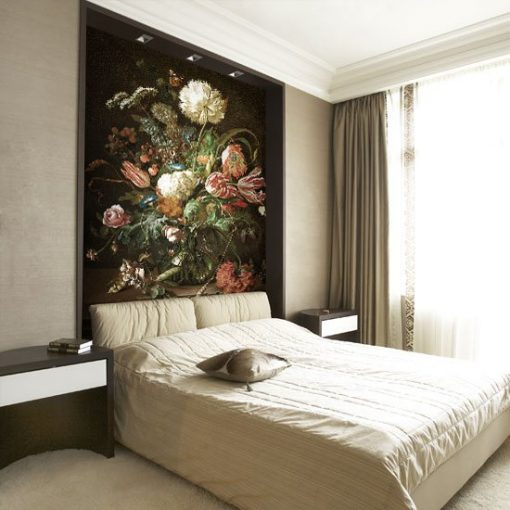 tapeta z kwiatami w wazoniku