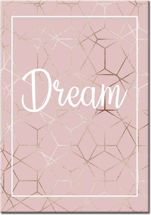 plakat z białym napisem dream