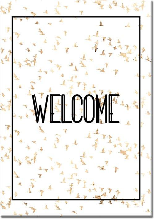 czarny napis welcome do mieszkania