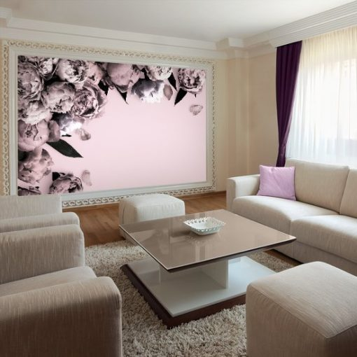 fototapeta z różowymi kwiatami