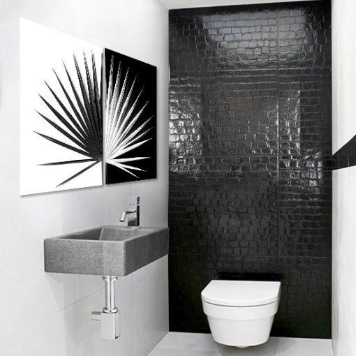 czarno-biały dyptyk w łazience
