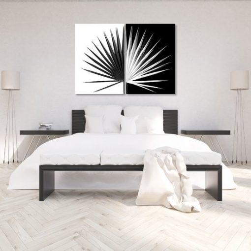 palma na dyptyku czarno-biała