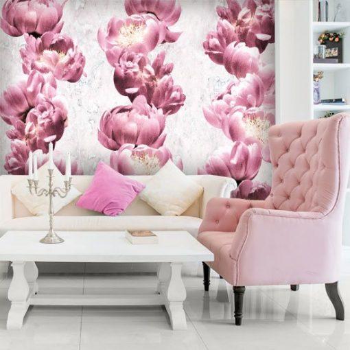 salon z kwiatami różowymi