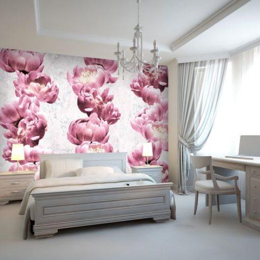 fototapeta różowa z kwiatami