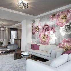 fototapeta z kwiatami w salonie