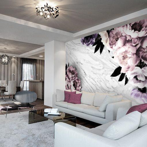 biało-czarny marmur z kwiatami