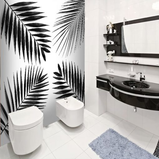 tapeta z liśćmi palmy do łazienki