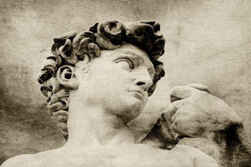 tapeta z rzeźbą ''Dawida'' w sepii