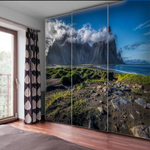 tapeta z górą i plażą na Islandii