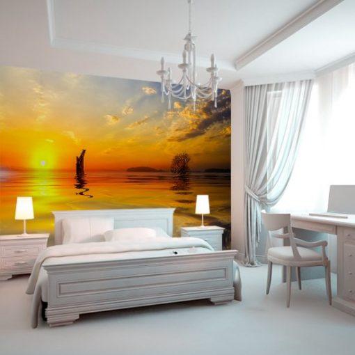 sypialnia z jeziorem i słońcem