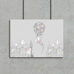białe króliczki na plakacie