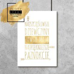 Złoty plakat do salonu kosmetycznego