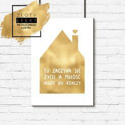 Złoty plakat dom, miłość