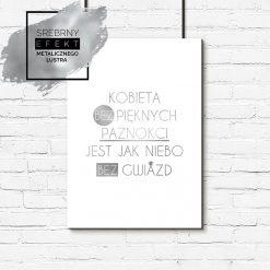 Srebrny plakat kobieta bez pięknych paznokci