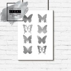 Plakat srebrny z motywem motyli