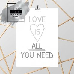 Srebrny plakat love is all you need
