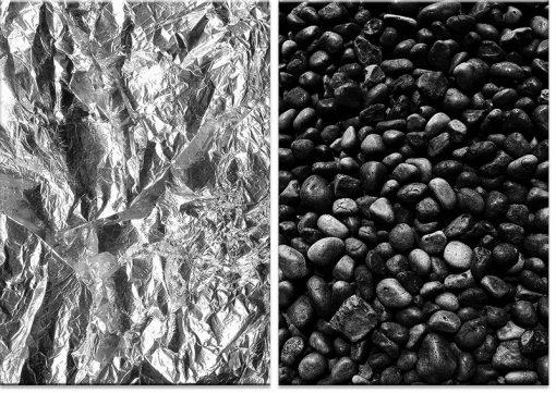 czerń i biel jako dyptyk z kamieniami