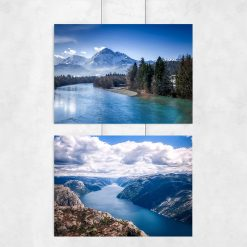 kolorowy plakat z rzeką na plakacie z górami