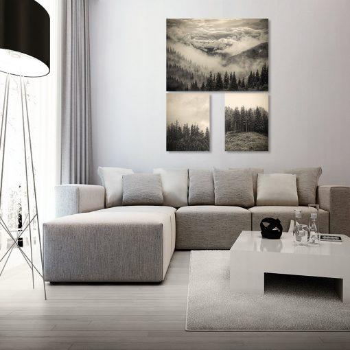 trzy plakaty w sepii jako dekoracja