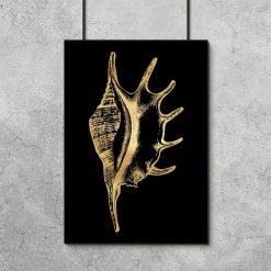złota muszelka na plakacie metalicznym