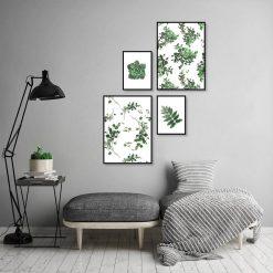 zielone plakaty do szarego salonu